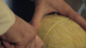 Bartender Cutting Melon lager videofilmer