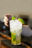 Bartender decorates cocktail mojito Stock Photography