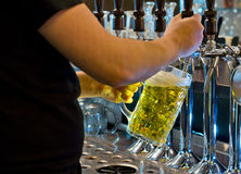 Bartender dispensing a tankard of draught beer. Close up view of the hands of a male bartender dispensing a large tankard of light golden draught beer from a row Royalty Free Stock Image