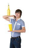 Bartender does a trick with a shaker Stock Images
