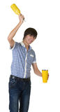 Bartender does a trick with a shaker Stock Image