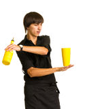 Bartender does a trick with a shaker and bottle Royalty Free Stock Images