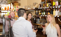 Bartender entertaining guests Royalty Free Stock Photo