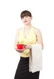Bartender girl with a cup of coffe stock photography
