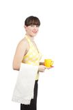 Bartender girl with a cup of coffee Royalty Free Stock Photo