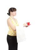 Bartender girl with a cup of coffee Stock Image