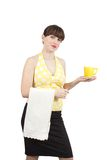Bartender girl with a cup of tea Royalty Free Stock Image