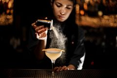 Bartender girl holding a spice shaker adding to a delicious cocktail flavours. On the bar counter in the blurred background stock photography