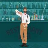 Bartender hipster χύνει το ποτό στο ποτήρι απεικόνιση αποθεμάτων