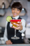 Bartender holding glass of cocktail in bar counter Royalty Free Stock Photos