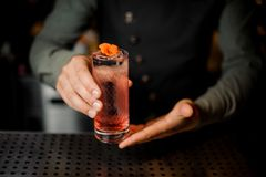 Bartender holding a glass with summer light sour cocktail with pink peach liquor decorated with flower. Bartender hand holding a glass with summer light sour Stock Photos