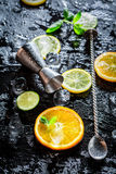 Bartender ingredients with fresh fruits and ice Royalty Free Stock Photos
