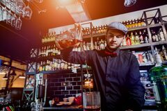 Free Bartender Is Making Cocktail At Bar Counter. Fresh Cocktails. Barman At Work. Restaurant. Nightlife. Royalty Free Stock Photography - 169730757