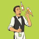 Bartender juggling bottles pop art style vector Stock Photos