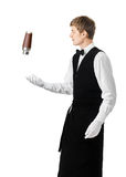Bartender juggling with shaker and making cocktail Stock Photos