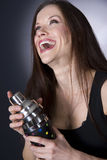 Bartender Laughs Mixing Shaking Martini Drink Royalty Free Stock Photos