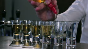 The bartender makes a shot set closeup stock video footage