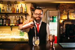 Bartender is making alcohol cocktail at counter. Bartender is making alcohol cocktail at bar counter. Barman with shaker royalty free stock image