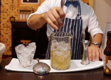 Bartender is making cocktail Royalty Free Stock Photo