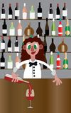 Bartender med drinkar stock illustrationer