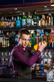 The bartender mixing cocktail Royalty Free Stock Photo