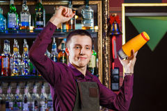 The bartender mixing cocktail Stock Photography
