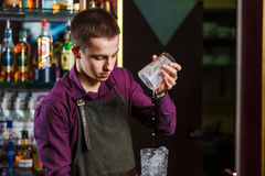 The bartender mixing cocktail Royalty Free Stock Images