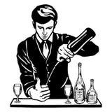 Bartender på stången med flaskor Arkivbild