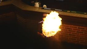 Bartender performance, burning with alcohol drinks, barman show stock footage