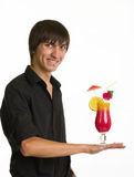 Bartender portrait with alcohol cocktail drink Royalty Free Stock Photography