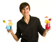Bartender portrait with alcohol cocktail drink Stock Photo