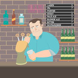 Bartender pouring beer illustration Royalty Free Stock Photos