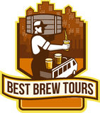 Bartender Pouring Beer Keg Cityscape Crest Retro Royalty Free Stock Image