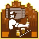 Bartender Pouring Beer Keg Cityscape Retro Stock Images