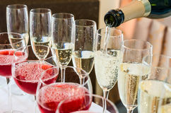 Bartender pouring champagne into glass. Close-up Royalty Free Stock Photography
