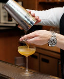 Bartender is pouring cocktail from shaker. Into a glass royalty free stock images