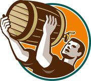 Bartender Pouring Drinking Keg Barrel Beer Retro Royalty Free Stock Image