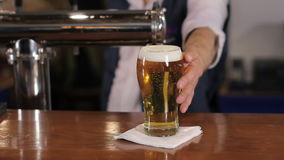 Bartender pouring glass of draft beer, putting it on the bar counter and leaving. Medium shot. Bartender pouring full glass of draft light beer, lager, pale ale stock footage