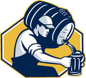 Bartender Pouring Keg Barrel Beer Retro Stock Photography