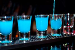 Bartender pours blue alcoholic drink into small glasses on bar Stock Image