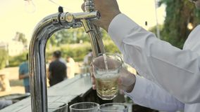Bartender pours Cider or Beer on Glass.  stock video