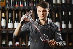 Bartender pours red wine in glass from big transparent vessel. Bartender in work uniform pours red wine in glass from decanter and stands in spacious cellar with Stock Images