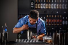 Bartender preparing an alcoholic beverage. In a restaurant bar Royalty Free Stock Image