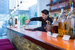 Bartender preparing a cocktail Royalty Free Stock Images