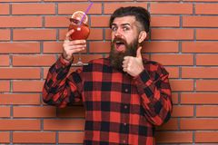 Bartender recommends to try beverage. Man in checkered shirt. Shows thumb up gesture, brick wall background. Barman advice concept. Barman with beard and Royalty Free Stock Photo