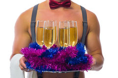 the bartender serving champagne in the new year Stock Photo