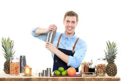 Bartender with a shaker and bottle on white. Young bartender with a shaker and bottle on white background stock images