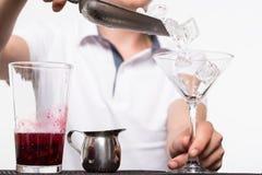Bartender som förbereder coctail royaltyfria bilder