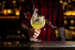 Bartender som gör färgstänk av en Gin Tonic coctail med limefruktskivor arkivbild