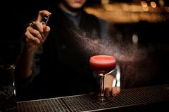 Bartender spraying on a smooth crimson cocktail in the glass with a silhouette as a decor royalty free stock image